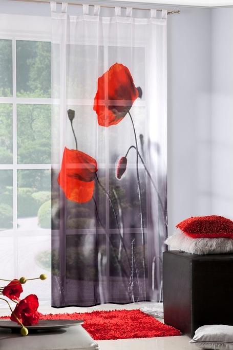 Luxusná záclona VLČÍ MAK poppy